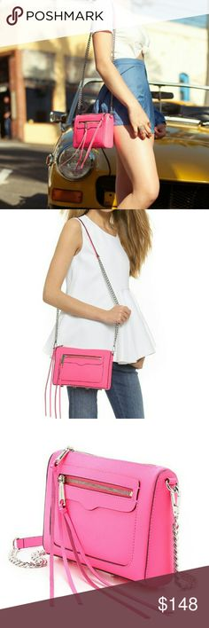Rebecca Minkoff Avery Crossbody Bag Features:  Fluorescent Pink Color  Saffiano Leather  Slim tassels accent the zip pockets metal feet protect the base Lined, animal print  single-pocket interior Optional chain shoulder strap Combination metal/leather strap  Zipper pocket exterior  Height: 6.25in  Length: 8.75in  Depth: 2.25in  Strap drop: 22in Rebecca Minkoff Bags
