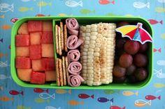 Beachy Bento Box •watermelon •cantaloupe •crackers •sliced deli ham •corn on the cob •grapes