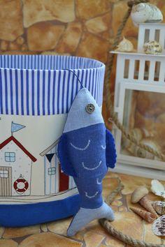 """Детская ручной работы. Большой текстильный туесок """"Пляжные домики"""". Сундучок. Ярмарка Мастеров. Корзинка текстильная, корзинка для игрушек, для фотосессии"""