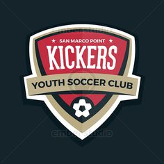 Soccer shield football badge crest stock graphic. Available for licensing. #vector #logo