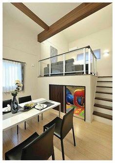 スキップフロア写真(石南・村田)-005 Condo Design, Home Room Design, Apartment Design, Home Interior Design, House Design, Small Loft Apartments, Loft Spaces, Modern Spaces, Indian Bedroom Decor