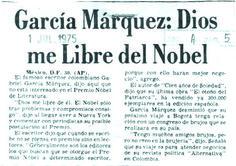 Gabriel García Márquez: Dios me libre del Nobel. Publicado el 1 de julio de 1975.