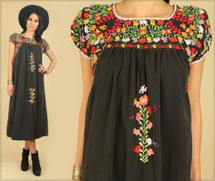 ViNtAgE 60's 70's Black Floral Oaxacan Mexican by hellhoundvintage