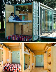 This portable home, named for the New Zealand word referring to small, modest vacation houses, was made using a 20′ shipping container. One side of the container folds down, opening the interior to the outdoors; it includes a double bed, bunk beds, a dressing room, a kitchen and a bathroom, all of which can be separated from the main space using fabric screens. Of course, since it's made from a shipping container, it's super easy to move, so owners can simply pack up their lodgings and bring…