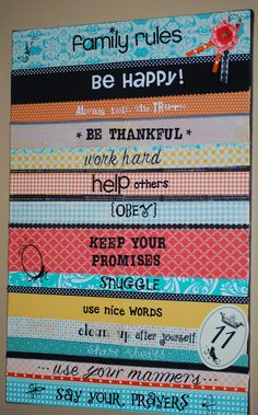 Love the Mod Podge Family Rules Canvas!  Great job