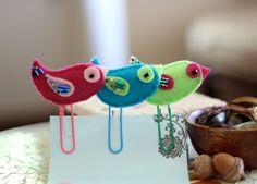 Bird Teal Blue Office Bookmark Felt Paperclip от Willowfolk