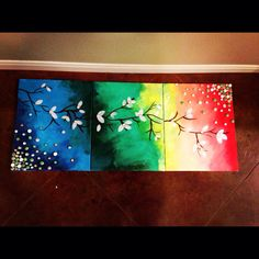 Easy paint and marbles project on three canvases!