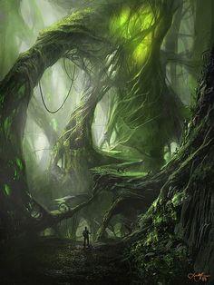 10 spectacular fantasy scenes from Digital Art Masters 10 spectacular fantasy scenes from Digital Art Masters: Magical Forest by Justin Fantasy Artwork, Fantasy Concept Art, Fantasy Art Landscapes, Fantasy Landscape, Landscape Art, Digital Art Fantasy, Fantasy Forest, Magic Forest, Dark Forest