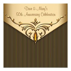 Gold Stripe Gold Anniversary Party Announcement in each seller & make purchase online for cheap. Choose the best price and best promotion as you thing Secure Checkout you can trust Buy bestThis DealsHere a great deal. 50th Wedding Anniversary Invitations, Wedding Invitation Design, Anniversary Parties, 50th Anniversary, Custom Invitations, Invites, Striped Wedding, Gold Stripes, Create Your Own Invitations