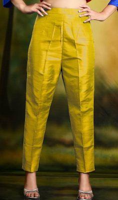 Golden Yellow Cigarette Pants Skinny Trousers - Silk Source by kimweideman pants Plazzo Pants, Salwar Pants, Kurta With Pants, Trouser Pants, Silk Pants, Blue Pants, Silk Suit, Cotton Pants, Ankle Pants