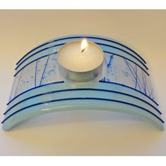 Large Fused Glass Candle Holder Home Decor Lighting Romantic Blue Gifts Under 50 Under 75 on Etsy, $30.00
