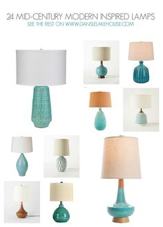24 Stunning Mid-Century Modern Inspired Lamps - See the Rest on http://www.danslelakehouse.com // mid-century modern inspired home decor // Lots of turquoise, teal and aqua lamps!