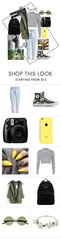 """""""outdoor swirl"""" by furtosalexandra ❤ liked on Polyvore featuring H&M, Converse, Fujifilm, Topshop, Marc by Marc Jacobs, The Row and Miss Selfridge"""