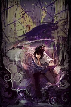 I love love love the colors and the whole style of this drawing. #sasuke #uchiha
