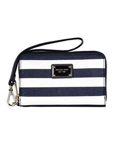 MICHAEL Michael Kors  Striped iPhone Zip Wallet. This would be super cute for summer. That Michael Kors knows how to make some amazing products