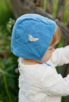 Handmade Embroidered Linen Bonnet | Lapetitealice on Etsy