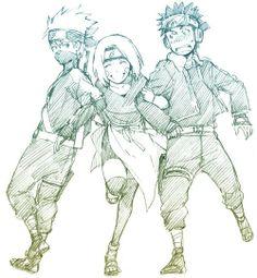 Naruto: Team Minato - Kakashi, Rin, and Obito Naruto Shippuden, Naruto Kakashi, Anime Naruto, Naruto Fan Art, Naruto Teams, Sarada Uchiha, Naruto Boys, Team Minato, Super Anime