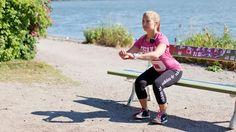Workout you can do anywhere - lower body. . Tee liikettä neljä kierrosta, 20-30 kertaa per kierros.
