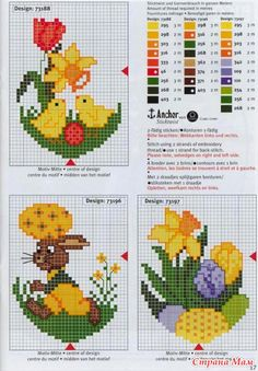 Схемы можно использовать и для вышивания пасхальных открыток. Источник: Handmade-Paradise.ru