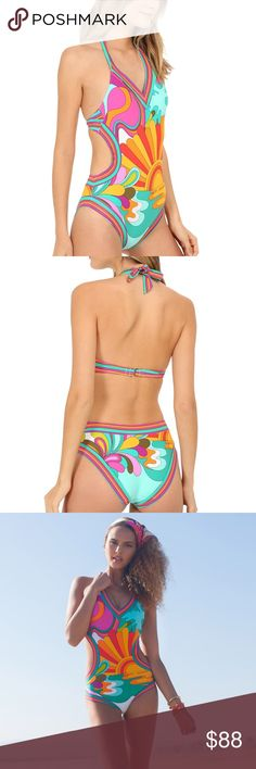 Mod-retro monokini swimsuit! Playa Azul Monokini by Trina Turk from Modcloth . A modern take on a traditional Mexican print, this amazing swimwear features side cut-outs and ties at the neck. The chest area was too small for my C-cup! Brand new w/ tags! Sold out everywhere, including Nordstrom! Trina Turk Swim One Pieces