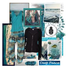 """""""Deep Peace...."""" by carola-corana ❤ liked on Polyvore featuring moda, Thos. Baker, Velvet by Graham & Spencer, Blue Les Copains, Burberry, FabFunky, women's clothing, women, female e woman"""