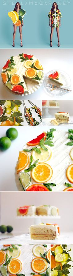Prettyway to decorate a citrus flavored cake! Oranges Limes and mint....