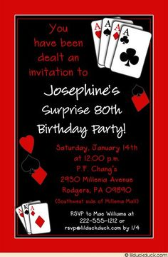 For an unforgettable birthday surprise, deal her friends an invitation to a casino party! To give this casual casino party invitation a touch of whimsy