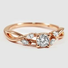 14K Rose Gold Willow Diamond Ring - Set with a 0.31 Carat, Round, Very Good Cut, E Color, SI2 Clarity Diamond #BrilliantEarth