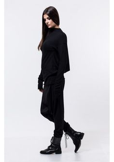 Black loose top / long sleeve loose top / draped by DECALOGUE13