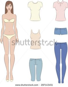 Love this dress paper dolls fashion pinterest fashion vector illustration of paper doll with a set of casual clothes female fashion template pronofoot35fo Gallery
