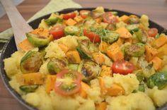 Couscous Pfanne mit Rosenkohl und Süßkartofel Food Food, Potato Salad, Potatoes, Ethnic Recipes, Brussels Sprouts, Proper Tasty, Gluten Free Recipes, Lemon, Healthy Recipes
