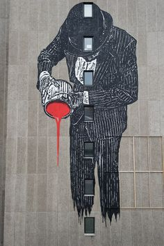 "Nelson Street, Bristol City Centre   Artist: Nick Walker. ""Vandal"" is a piece that towers over Nelson Street and pours down on to the pavement below."