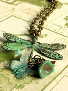 brass dragonfly & charms