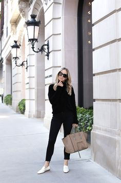 All Black Outfit with White Shoes. How To Style White Loafers.