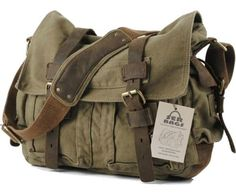 SERBAGS Military Canvas Shoulder Messenger Bag with Leather Straps