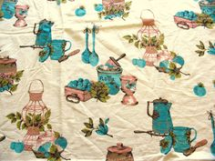 pink and turquoise 1950s kitchen print vintage cotton fabric