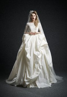 Ersa atelier bridal Fall 2015 Fabiola ball gown wedding dress with sleeves and lace bodice. Modest Wedding Gowns, 2015 Wedding Dresses, Cheap Wedding Dress, Bridal Gowns, Gown Wedding, Wedding Pics, Wedding Blog, Wedding Ceremony, Gorgeous Wedding Dress