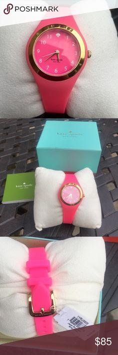 KATE SPADE bright pink watch *new with tags* KATE SPADE lovers here is a watch for you!!!! So cute pop of color bright pink silicone band and face with gold detailing and white numbers and spade for 12 o'clock. New with tags- no damages. Box comes with! kate spade Accessories Watches
