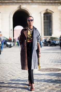 Shala Monroque, Creative Director Garage Magazine, wearing a Lahssan trench…