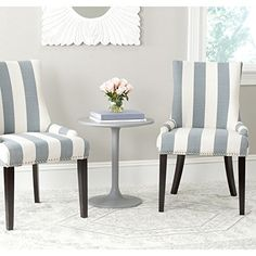 Safavieh Mercer Collection Lester White and Espresso Dining Chair (Set of 2), Grey