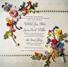 Custom Order -Paper Quillied beautiful flower Wedding Invitation for Ann
