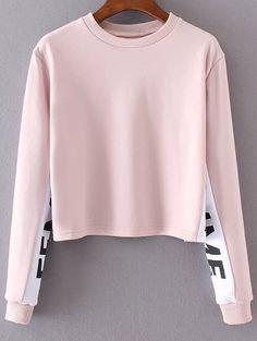 Letter Print Jewel Neck Long Sleeve Sweatshirt