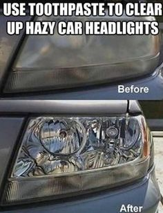 Clean Your Car Headlights with Toothpaste - Oh my. What does this say about what ingredients are in toothpaste? I say, get an all natural toothpaste and then upcycle your old toothpaste to clean your car lights with! Cleaning Headlights On Car, Car Cleaning, Diy Cleaning Products, Cleaning Solutions, Cleaning Hacks, How To Clean Headlights, Polish Headlights, Auto Headlights, Household Tips