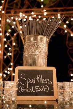 Sparklers create a grand exit -- the next best thing to fireworks! Make it easy for guests by providing buckets of sparklers. Line walkway with lit votive candles so guests can easily light their sparklers. Wedding Wishes, Wedding Bells, Fall Wedding, Our Wedding, Trendy Wedding, Wedding Black, Wedding Rustic, Rustic Wedding Decorations, Wedding Centerpieces