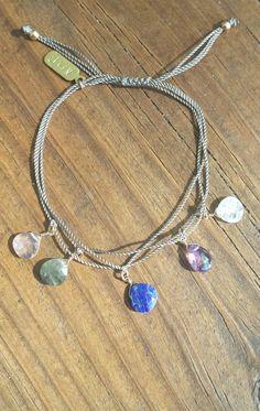 Boho Festival Gemstone Briolette Charm bracelet 🌠  in my Etsy shop https://www.etsy.com/listing/477276569/rainbow-moonstone-rose-crystal-quartz