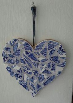 Broken crockery mosaic heart