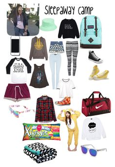 """""""2 wk. Sleepaway Camp!"""" by gummybear-unicorn ❤ liked on Polyvore featuring JanSport, NIKE, Converse, Pull&Bear, Monki, Ally Fashion, 7 For All Mankind, Billabong, MANGO and Amici Accessories"""