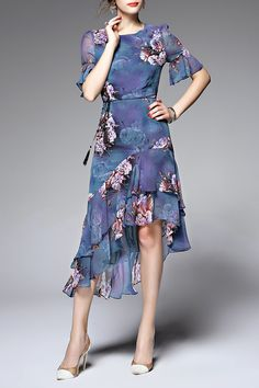 Floral Print Flouncing Asymmetric Dress