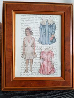 Framed vintage paper doll