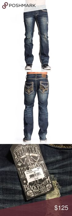 Affliction Men's Blake Fleur Knoxville Jeans Check out this great new jean by Affliction! Super comfortable, quality made and very stylish, these are a must have. • Affliction Mens Denim • Faux Flap Back Pocket • Crows Feet Embroidery • Self Fabric Panels • Side Seam Detail • PU Leather Fleur Detail • Multi Construction Stitch • Brown Leather Back Patch • Relaxed Fit • Slightly Low Rise • Relaxed Seat and Thigh • Wide Waistband • Medium Indigo Wash • 99% Cotton 1% Spandex • Machine Wash Cold…